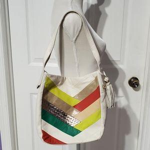 Elliot Lucca Vintage White Striped Leather Handbag